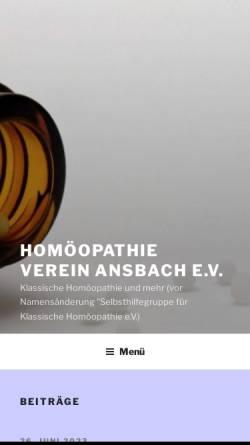 Vorschau der mobilen Webseite www.homoeopathie-ansbach.de, Klassische Homöopathie Ansbach