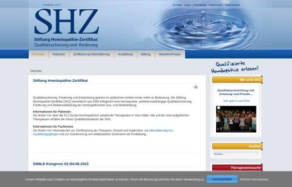 Vorschau von www.homoeopathie-zertifikat.de, Stiftung Homöopathie-Zertifikat