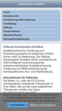 Vorschau der mobilen Webseite www.homoeopathie-zertifikat.de, Stiftung Homöopathie-Zertifikat