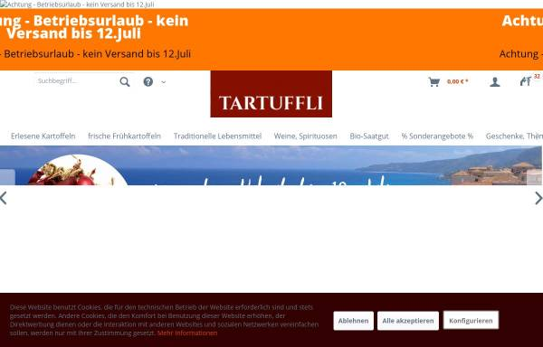 Vorschau von www.erlesene-kartoffeln.de, Tartuffli Naturwaren e.K.