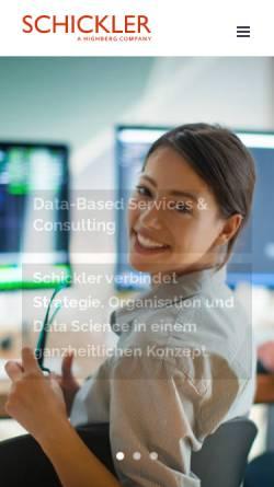 Vorschau der mobilen Webseite www.schickler.de, Schickler Beratungsgruppe