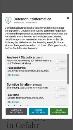 Vorschau der mobilen Webseite www.meininger.de, Meininger Verlag GmbH