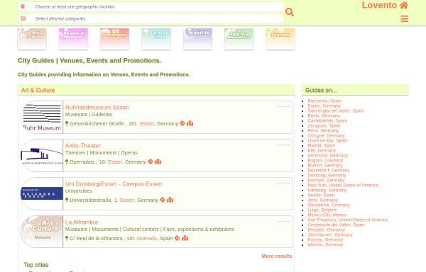 Vorschau von www.lovento.com, Location- und Eventguide