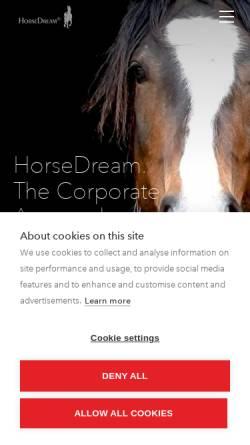 Vorschau der mobilen Webseite www.horsedream.de, G&K HorseDream GmbH Private Akademie für Pferde, Führung und Kommunikation ZEIDLERHOF Oberbeisheim