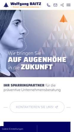 Vorschau der mobilen Webseite www.baitz.de, Wolfgang Baitz - Personal- und Unternehmensberatung