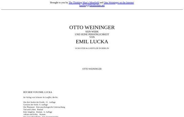 Vorschau von www.theabsolute.net, Otto Weininger - Sein Werk und seine Persönlichkeit