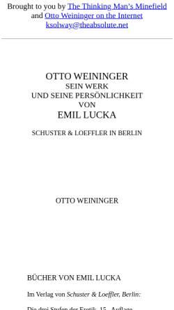 Vorschau der mobilen Webseite www.theabsolute.net, Otto Weininger - Sein Werk und seine Persönlichkeit