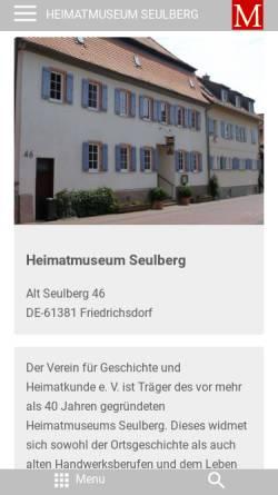 Vorschau der mobilen Webseite www.museum.de, Heimatmuseum Seulberg