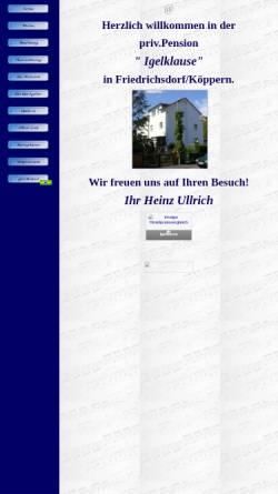 Vorschau der mobilen Webseite www.igelklause.de, Pension Igelklause