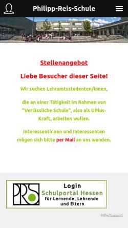 Vorschau der mobilen Webseite www.philipp-reis-schule.de, Philipp-Reis-Schule