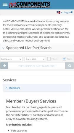 Vorschau der mobilen Webseite www.netcomponents.com, NetCOMPONENTS, Inc.