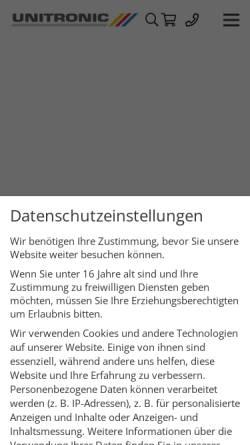 Vorschau der mobilen Webseite www.unitronic.de, Unitronic AG