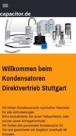 Vorschau der mobilen Webseite www.capacitor.de, Richter Kondensatorenvertrieb, Inh. Vigo Richter