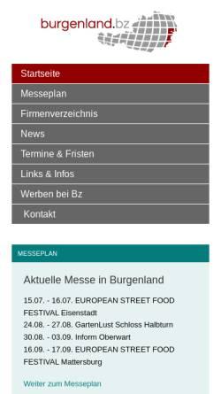 Vorschau der mobilen Webseite www.burgenland.bz, Burgenland.Bz - Shopping und Wirtschaftsplattform für das Burgenland