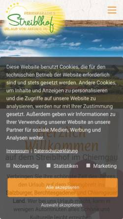 Vorschau der mobilen Webseite streiblhof.de, Streibelhof