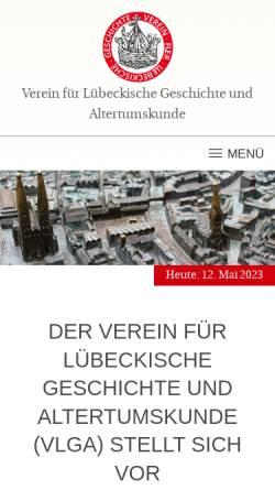 Vorschau der mobilen Webseite www.vlga.de, Verein für Lübeckische Geschichte und Altertumskunde