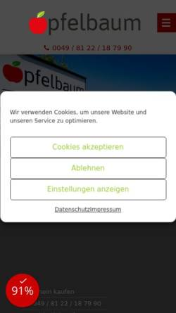 Vorschau der mobilen Webseite www.gaestehaus-apfelbaum.de, Gästehaus Apfelbaum