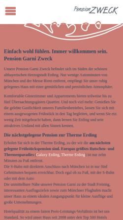Vorschau der mobilen Webseite www.pension-zweck-erding.de, Pension Zweck
