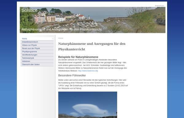 Vorschau von www.solstice.de, Solstice - Naturphänomene und Anregungen für den Physikunterricht
