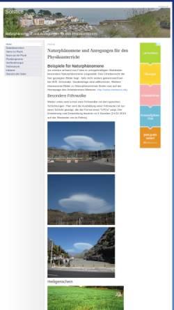 Vorschau der mobilen Webseite www.solstice.de, Solstice - Naturphänomene und Anregungen für den Physikunterricht
