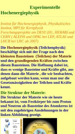 Vorschau der mobilen Webseite www.physi.uni-heidelberg.de, Hochenergiephysik