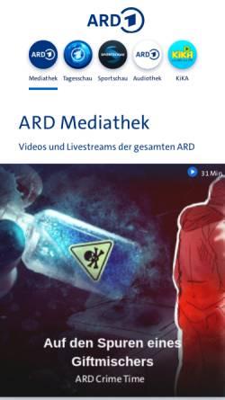 Vorschau der mobilen Webseite www.ard.de, Erstes Deutsches Fernsehen
