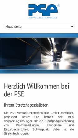 Vorschau der mobilen Webseite www.pse-verpackung.de, PSE Verpackungstechnologie GmbH