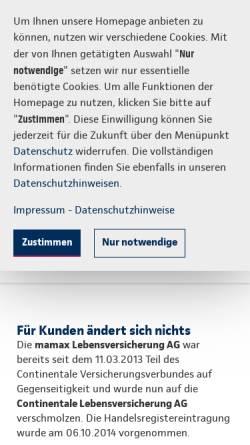 Vorschau der mobilen Webseite www.mamax.com, mamax Lebensversicherung AG