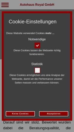 Vorschau der mobilen Webseite www.autohaus-royal.de, Autohaus Royal