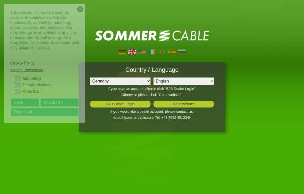 Vorschau von www.sommercable.com, Sommer Cable GmbH