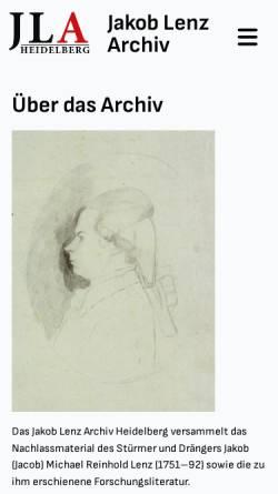 Vorschau der mobilen Webseite www.jacoblenz.de, Forschungsstelle J. M. R. Lenz