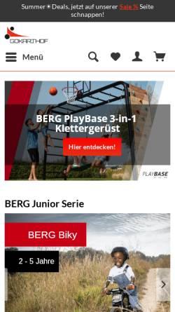 Vorschau der mobilen Webseite www.gokarthof.de, Gokarthof Vierlanden