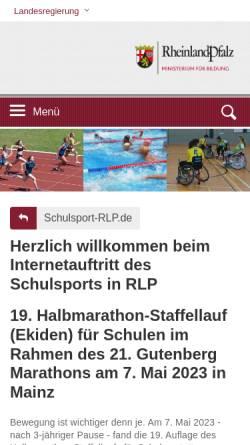 Vorschau der mobilen Webseite www.schulsport-rlp.de, Schulsport Rheinland-Pfalz