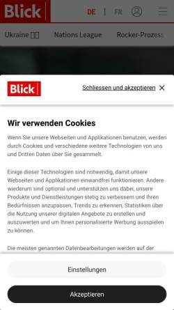 Vorschau der mobilen Webseite www.blick.ch, Blick