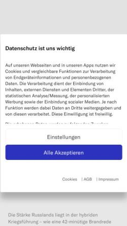 Vorschau der mobilen Webseite www.nzz.ch, Neue Zürcher Zeitung