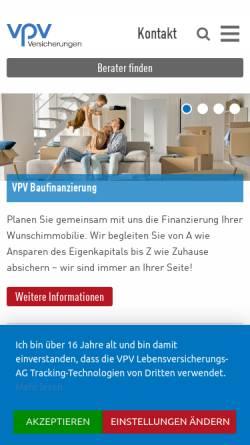 Vorschau der mobilen Webseite www.vpv.de, VPV Versicherungsgruppe