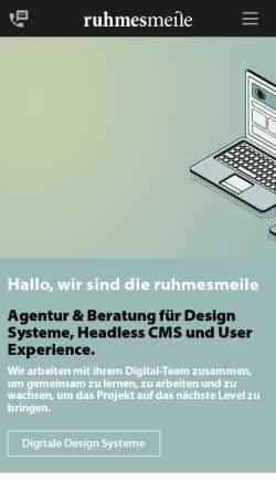 Vorschau der mobilen Webseite ruhmesmeile.com, ruhmesmeile GmbH