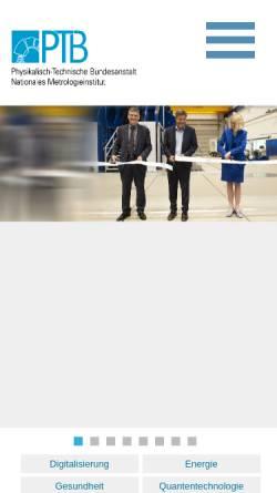 Vorschau der mobilen Webseite www.ptb.de, Physikalisch-Technische Bundesanstalt (PTB)