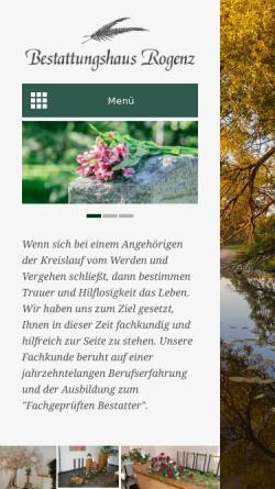 Vorschau der mobilen Webseite www.bestattungshaus-rogenz.de, Bestattungshaus Rogenz