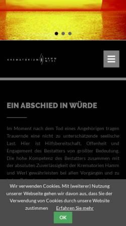 Vorschau der mobilen Webseite www.feuerbestattungen-westfalen.de, Krematorium-Hamm