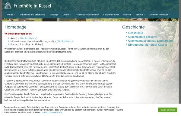 Vorschau von www.friedhofsverwaltung-kassel.de, Friedhöfe in Kassel