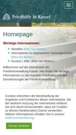 Vorschau der mobilen Webseite www.friedhofsverwaltung-kassel.de, Friedhöfe in Kassel