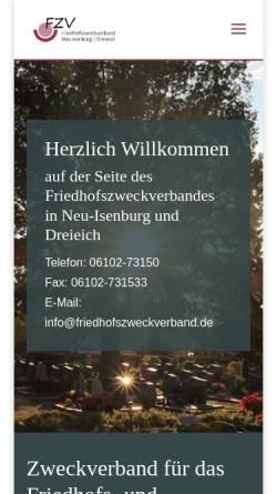 Vorschau der mobilen Webseite www.friedhofszweckverband.de, Friedhofszweckverband für Neu-Isenburg und Dreieich