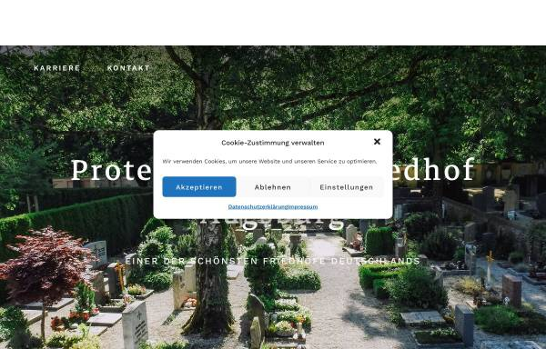 Vorschau von www.protestantischer-friedhof.de, Protestantischer Friedhof Augsburg