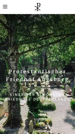 Vorschau der mobilen Webseite www.protestantischer-friedhof.de, Protestantischer Friedhof Augsburg