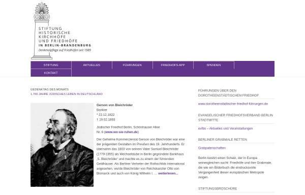 Vorschau von www.stiftung-historische-friedhoefe.de, Stiftung Historische Kirchhöfe und Friedhöfe in Berlin-Brandenburg