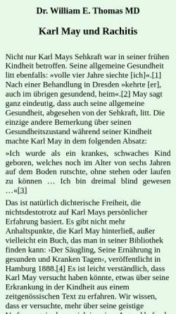 Vorschau der mobilen Webseite www.karl-may-stiftung.de, Karl May und Rachitis