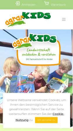 Vorschau der mobilen Webseite www.agrarkids.de, Agrarkids, Kanew & Winter GbR