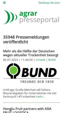 Vorschau der mobilen Webseite www.agrar-presseportal.de, Agrar-Presseportal