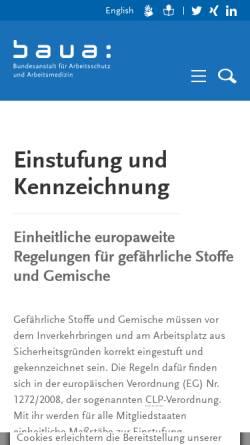 Vorschau der mobilen Webseite www.baua.de, CMR-Gesamtliste